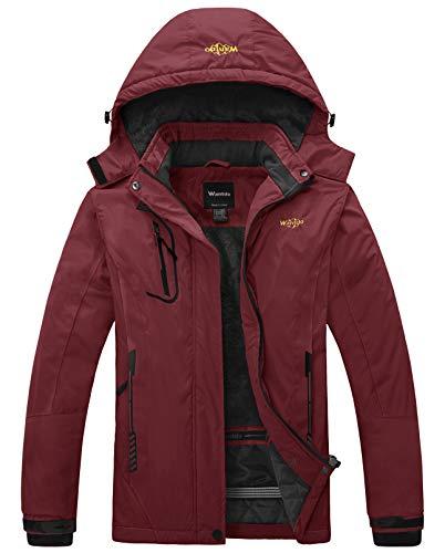 Wantdo Women's Winter Waterproof Ski Jacket Windproof Warm Coat Wine Red Small