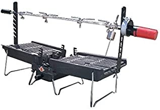Mr. Flame Son of Hibachi Portable Vintage Cast Iron Charcoal Grill + Rotisserie Spit Combo | Self Cleaning/Self Extinguishing | The Ideal Portable Folding Grill (1980's Model)