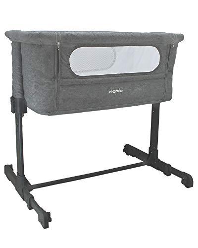 Nania Lit bébé cododo - DODI - Lit d'appoint 2 en 1 - Ultra confort matelas 4cm d'épaisseur (gris)