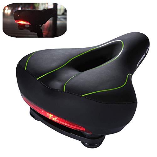 Asvert Sillín de bicicleta con luz trasera, asiento acolchado de bicicleta de montaña impermeable y transpirable para bicicletas de carretera y bicicleta de montaña (Verde)