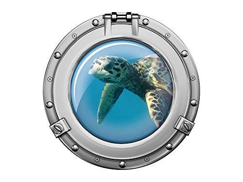 GRAZDesign Wandsticker Schildkröte, Fliesenaufkleber Bad Bullauge Silber, Wandtattoo Unterwasser, Deko für Tür im Bad/Kinderzimmer / 50x50cm