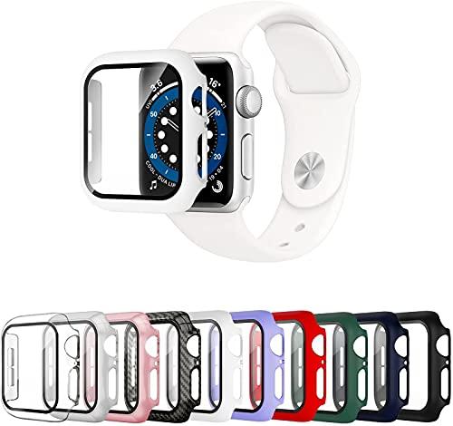 Mocodi 10 Pack Funda Apple Watch 38mm Series 3/2/1 con Protector de Pantalla de Vidrio Templado,Cubierta Protectora Completa Resistente a los arañazos para Hombres y Mujeres Accesorios para iWatch