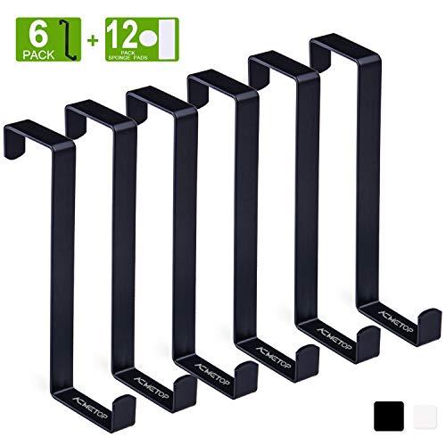 """ACMETOP 6 Pack Over The Door Hook, Z-Shaped Reversible Door Hooks, Dual Head Single Over Door Hooks Fits 1-3/8"""" and 1-3/4"""