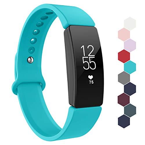 Adepoy für Fitbit Inspire HR Armband, wasserdichte Weiche Sportarmband kompatibel mit Fitbit Inspire/Inspire HR/Ace 2, Damen Herren (Türkis, Groß)