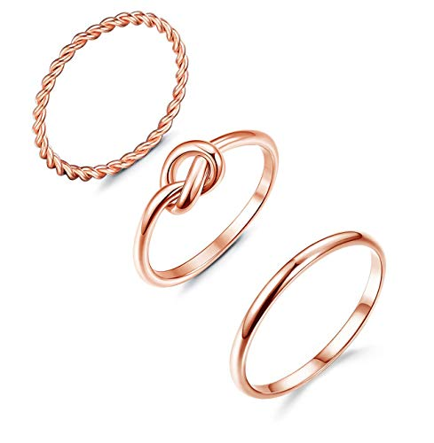 ORAZIO 4 Pcs Silver Wave Rings for Women Twist Knot Band...