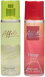 Affetto By Sunny Leone Summer Seduction & Vintage Body Mist - For Women 200ML Each (400ML, Pack of 2)