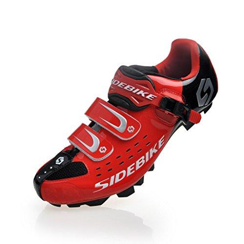 TXJ Specialized Scarpe da Ciclismo MTB per Mountain Bike (Nero-Rosso) (Si Prega di Scegliere Una Taglia più Grande del Solito Indossare)