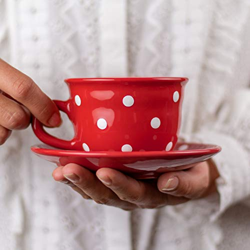 Handmade Red and White Polka Dot Ceramic 9oz/250ml | Cappuccino, Coffee, Tea Cup and Saucer, Unique Designer Pottery for Tea Lovers by City to Cottage