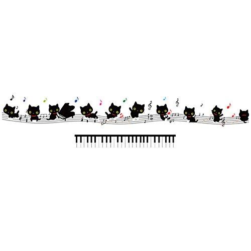 Winhappyhome Noir Remarques Cat Piano Art Stickers Muraux pour Les Enfants Chambre Salle De Musique KTV Fond Amovible DéCoration Stickers