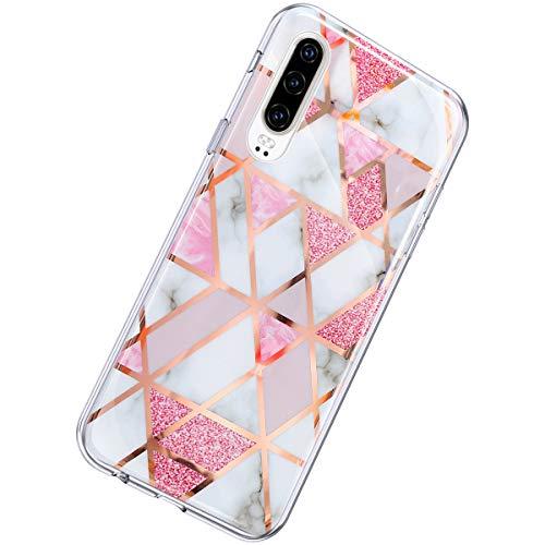 Herbests Kompatibel mit Huawei P30 Hülle Marmor Muster Glänzend Glitzer Bling Weich Silikon Hülle Kratzfest Schutzhülle Tasche Crystal Case Durchsichtig Dünn Handyhülle,Marmor Rosa