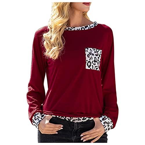 EVAEVA Camiseta Larga para Mujer, Camiseta Manga Larga para Mujer, Camisetas Mangas de Estampado de Leopardo, Blusas con Cuello Redondo Pocket para Mujer, Polos Casual de Mujer en Color de Contraste