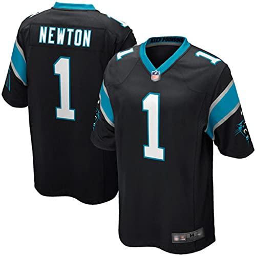 LKJHG Panthers 1# Newton Home and Away Besticktes American Football Trikot Kurzarm Rugby Fan Shirt für Männer Jugend Weiß/Schwarz/Blau S-XXXL XL Black