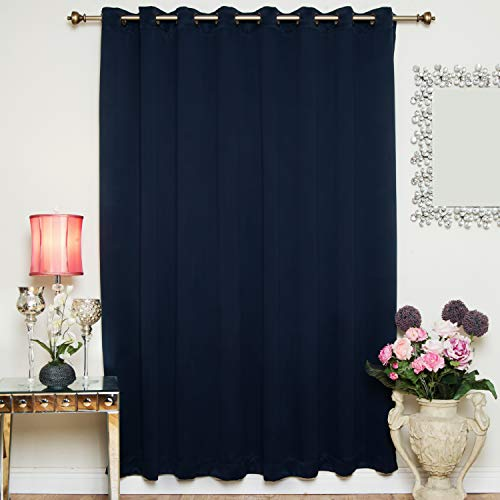 Navy Wide Width Antique Brass Grommet Top Thermal Insulated Blackout Curtain 100 Inch Wide by 108 Inch Long Panel