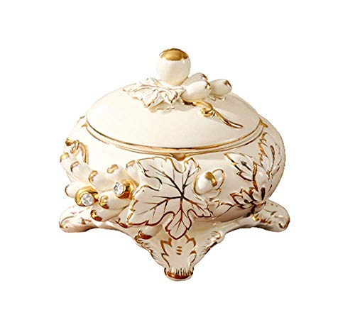 LILICEN Cenicero, Cubierta de Estilo Europeo Cenicero de cerámica a Prueba de Viento de la Personalidad de Moda práctica Mesa de café Decoración 20X13cm