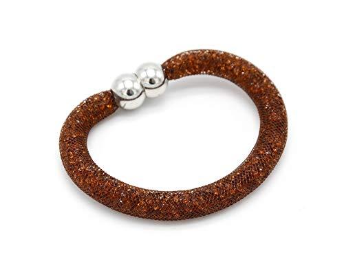 BC518-Brazalete magnético Stardust tubo de rejilla elaborada. modo con cristales de fantasía, color marrón