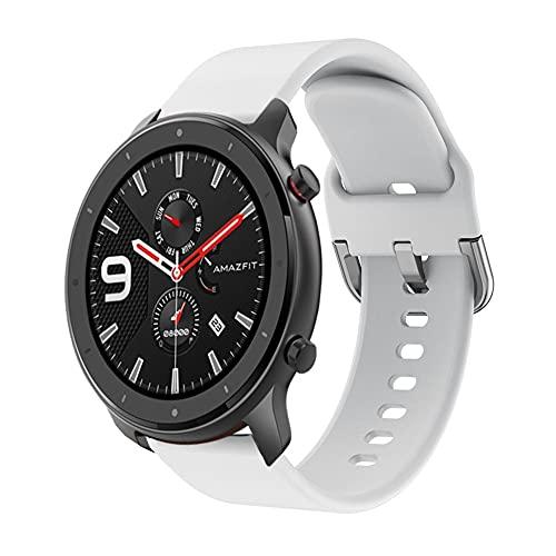 Banda Pulsera 22mm Correa Compatible Con Amazfit GTR 47mm con Amazfit GTR 2 GTR 2e Pulsera Silicona Reemplazar Suave Plastico Para Smartwatch (Blanco)