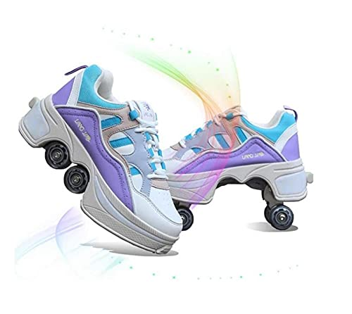 FLY FLQ Patines de Ruedas automáticos, Zapatos de Skate, Zapatillas Informales para Caminar, Patines Que deforman los Patines de Ruedas,Purple-41