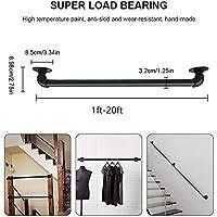 階段の手すり、屋内階段の手すりの階段の黒い管の手すり、滑り止めの錬鉄のレール、壁の屋内ロフト高齢の手すり (Size : 12ft)