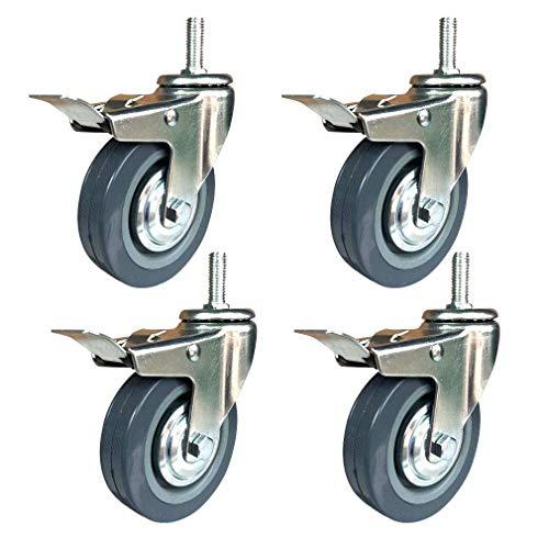 LQH Conjunto de 4 Ruedas de Fundición, echador de los Muebles con los Frenos, M12 * 30MM Bolt, de Poliuretano Resistente al Desgaste, Caster Individual Puede soportar hasta 90 kg (198 lbs)