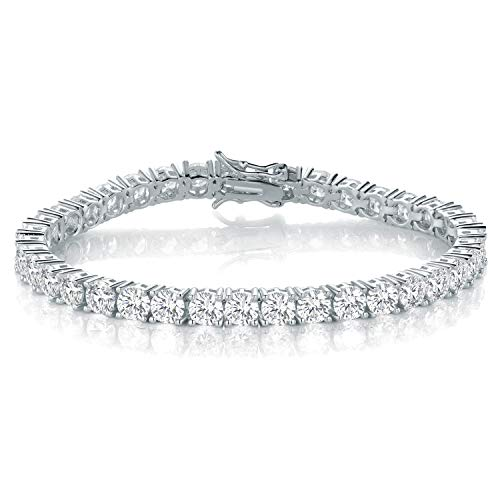 GMESME 18K White Gold Plated 4.0 Round Cubic Zirconia Classic Tennis Bracelet 7.5 Inch