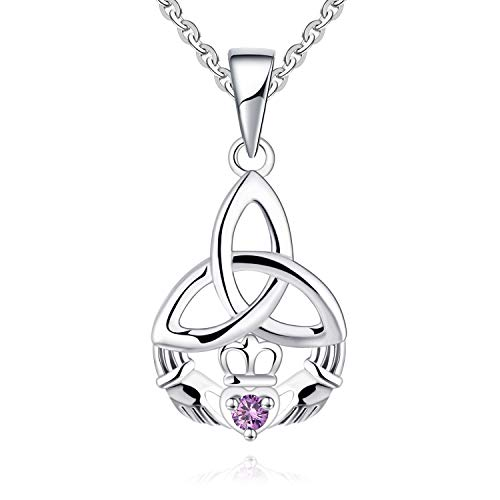 JO WISDOM Women Claddagh Necklace,925 Sterling Silver Irish Celtic Claddagh Love Heart Pendant Necklace with AAA Cubic Zirconia, June Birthstone Jewelry(amethyst)