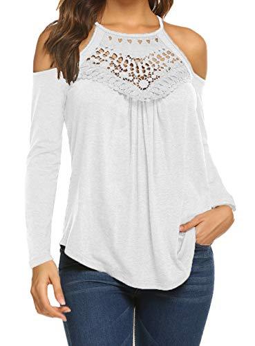 Cold Shoulder Top White Women's Autumn Cute Long Sleeve T Shirt Blouses L