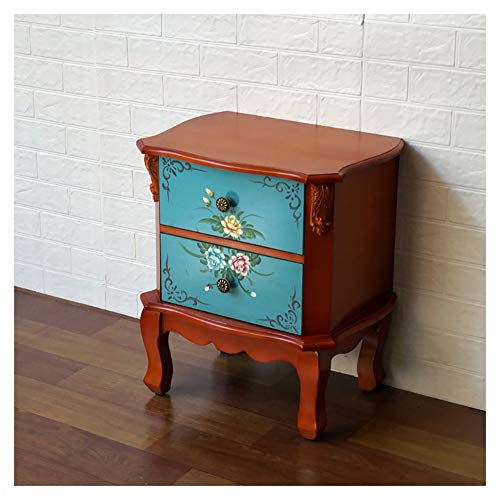 HLR Bedside Table Nightstand End Table Side Table Bedside Cabinet European-style Hand-painted Assembling Antique Telephone Cabinet Furnishing Cabinet Sofa Side Locker (Color : B)