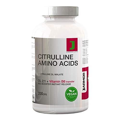 Citrullina Malato Integratore Pillole + Vitamina B6 | 200 Capsule | Aminoacido Puro Per Massa Muscolare Vigore fisico e mentale | Precursore dell' Arginina | booster Azione Duratura e Immediata Vegan