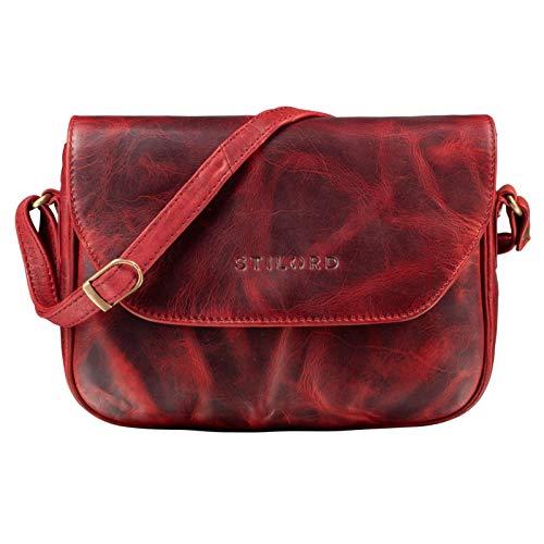 STILORD 'Esther' Damen Handtasche Umhängetasche Echtleder Vintage Ledertasche zum Ausgehen Klassische Abendtasche Partytasche Freizeittasche Leder, Farbe:Kara - rot