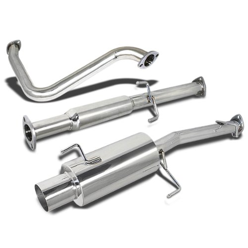 4 Inches Muffler Round Tip Catback Exhaust System Compatible with Honda Prelude BB H22 H23 92-96