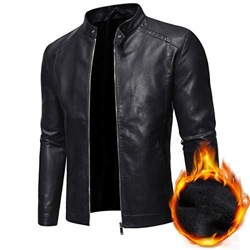 LDMB Chaqueta de cuero para hombre, con cuello alto, resistente al viento, de piel sintética, abrigo de motocicleta, cálido y ligero, color negro, forro de felpa, XXL