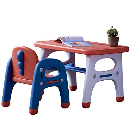 koodon Dinosaur Table and Chair Set Kids Multi Activity Table Bright Bold Junior Table and Chairs Set with Storage Best for Toddlers Reading, Train, Art, Crafts, Play-Room (RED)