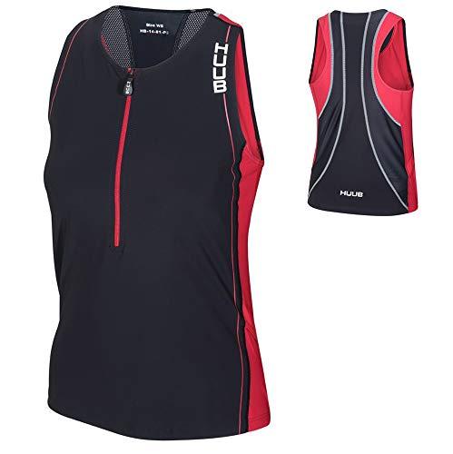 Huub Core Tri Top Vest Dames Hardlopen Cylcing Triatlon Jas Zwart/Rood