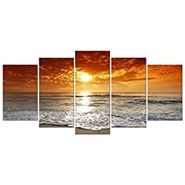 Wieco Art Grand Sight 5 Panels Modern Landscape Artwork HD Seascape Giclee Canvas Prints Sea Beach Pictures to Photo Paintings on Canvas Wall Art DÃcor for Living Room Bedroom Decorations