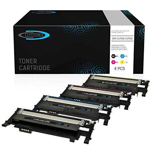 4 CLEOTONER Kompatibel für Samsung CLT-P406C Tonerkartusche Ersatz für Samsung Xpress C460W C460 C410W CLP-360 CLP-360ND CLP-365 CLP-365W CLX-3305 CLX-3300 Drucker, Schwarz Cyan Magenta Gelb