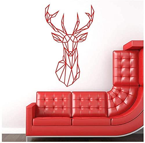 Etiqueta de la pared Origami Geométrico Cabeza de ciervo Etiqueta de la pared Decoración del hogar Vinilo Etiqueta de la pared Animal creativo Desmontable Sala de estar Mural 58X98 cm