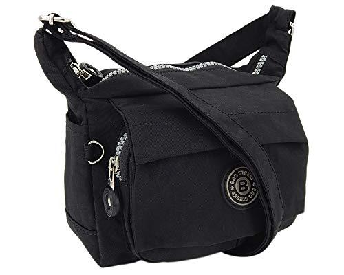 Moderne und zugleich sportliche Damen-Handtasche kleine Umhängetasche aus hochwertigem wasserabwesendem Crinkle Nylon (Schwarz)