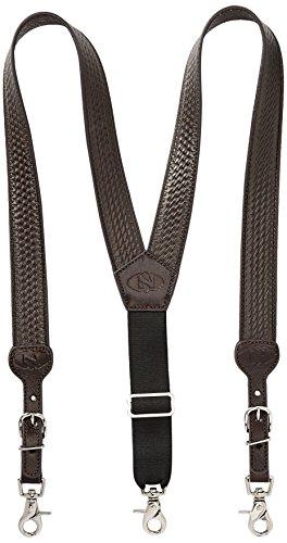 Nocona Belt Co. Men's Basic Basket Leather Suspender, brown, XX-Large