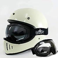 ダムトラックス ブラスター ヘルメットUVカットゴーグルSET (オフホワイトM/CPライトスモーク) オーバーグラスゴーグル DAMMTRAX BLASTER フルフェイスヘルメットゴーグル付き ブラスターヘルメット バイク M,CPライトスモーク