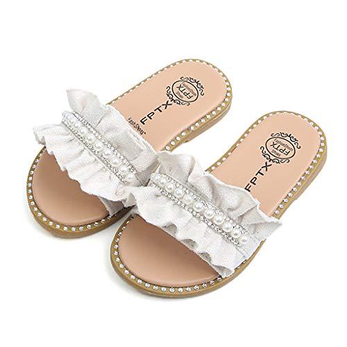 FRAUIT Meisjes lief sandalen met bowknot Pearl baby prinses schoenen pannenkoeken flip flop teenslippers soft sole single strandschoenen platte badslippers zomerschoenen
