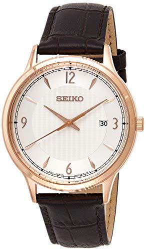 Seiko Herren Analog Quarz Uhr mit Leder Armband SGEH88P1