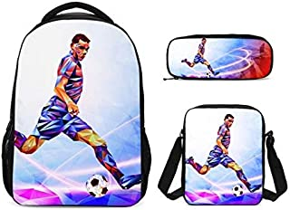 SCBW0140022XS-2 3Pcs/Set Portfolio School Bag for Boys Girls Sports Football 3D Printing Backpacks Kids Bookbag Travel Backbag Mochila Escolar