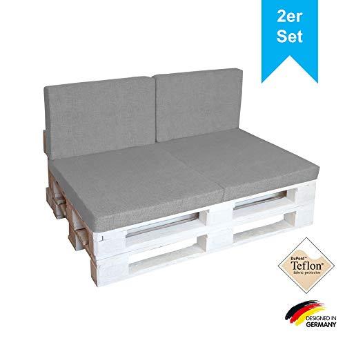 LILENO HOME Palettenkissen Set Hellgrau inkl. Tragetasche - 1. Set: (1x Sitzteil + 2X Rückenkissen) - Polster für Europaletten klappbar - Palettenkissen Outdoor als Sitzkissen für Palettenmöbel