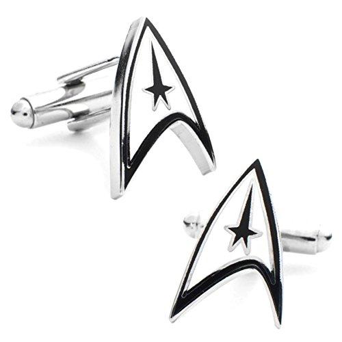 STAR TREK Sous licence officielle Shield Logo argent rhodié et boutons de manchette plaqué émail - Coffret