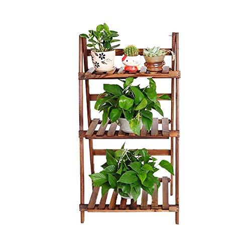 Subobo Plantenrek, 3-traps houten ladder, boekenrek, boekenrek, staand rek, kastwand, planken, presentatiestandaard, keuken, kruidentuin, eenvoudige montage en robuustheid