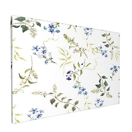 Arte de la pared de la lona,Delicadas flores azules retro florales, Pintura al óleo moderna enmarcada Obra de arte Decoración de la pared del dormitorio de la oficina en casa (12x18 pulgadas)