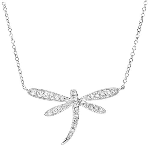 Naava Women's 9 ct White Gold 0.15 ct Diamond Dragon Fly Pendant Necklace of Length 40.6cm