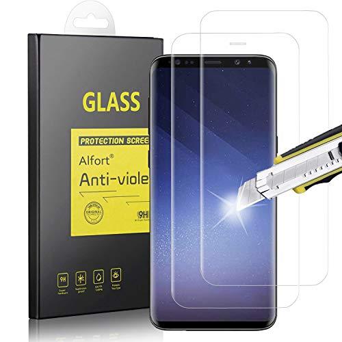 Alfort Paquete de 2 Cristal Templado Samsung Galaxy S9 Plus, Alta Definicion, 9H Dureza, Resistente a Arañazos Sin Burbujas, Dureza 9H, Protector Pantalla para Samsung Galaxy S9 Plus(Transparente)
