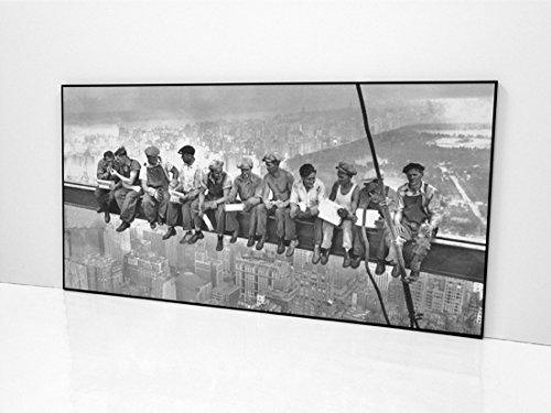 BaikalGallery OBREROS EN Nueva York 1932 Cuadro Enmarcado PANORAMICO (P1054)-Moldura de Aluminio Mate de 1,5cm - Montaje en Panel Adhesivo (Foam)- Laminado en Mate (Sin Cristal)(70x140cm,Negro)