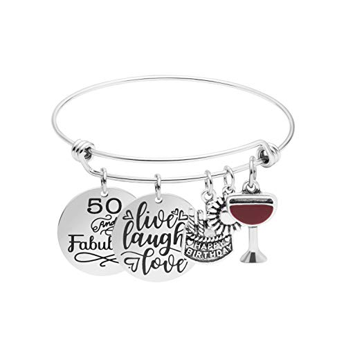 50th Birthday Gifts for Women Stainless Steel Charm Bracelet Gift Jewellery